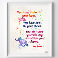 Dr. Seuss Print, Doctor Seuss Quote, Seuss Watercolor, Type 4, Wall Art, Nursery Posters, Artwork, Dorm Decor, Fathers Day Gift