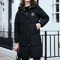 """Adidas"" Women Simple Fashion Thickened Zip Cardigan Middle Long Section Long Sleeve Hooded Cotton-padded Clothes Down Coat"