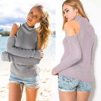 New Fashion 2016 Autumn Women Fashion High Collar Pullover Sexy Long Sleeve Off Shoulder Solid Casual Loose Sweater WG301