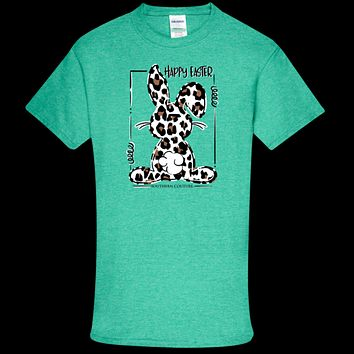 Southern Couture Soft Collection Happy Easter Leopard Bunny front print T-Shirt