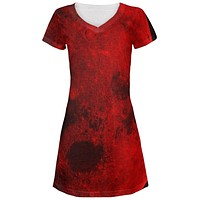 Halloween Blood Moon All Over Juniors V-Neck Dress