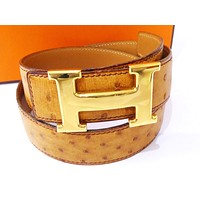Authentic HERMES H Motif Belt Ostrich Leather Gold-tone Size 70 Brown Z958