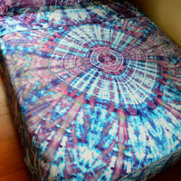 Hand Dyed Tranquillity Queen Sheet Set In Soft Tie Dye Colors - Psychedelic Bedding