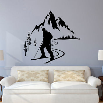 Skier Wall Decal, Winter Sports Wall Decals, Mountain Wall Decal, Skiing Sports Wall Decal Bedroom Kids Nursery Mountain Wall Art Decor C131