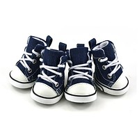 Free shipping New Outdoor Pet shoes Dog shoes Nonslip Lace Up Canvas Denim Blue Pet Dog Shoes