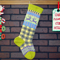 Plaid Christmas Stocking, Hand Knit with Green Cuff and Lavender Reindeer, can be personalized, Wedding/ Housewarming/ Shower Gift, colorful