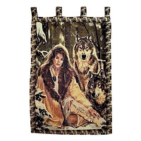 Tache 28 x 47 Inches Runs With Wolves American Indian Tapestry Wall Hanging (WH-DA12082)