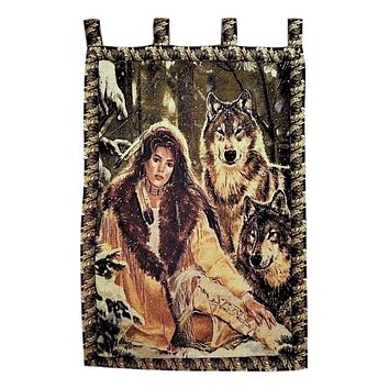 Tache 28 x 47 Inches Runs With Wolves Tapestry Wall Hanging (WH-DA12082)