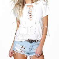 Beige Short Sleeve Lace Up T-shirt -SheIn(Sheinside)