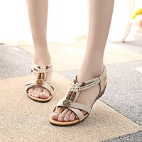 Fashion Lint Elastic Wedge Sandals