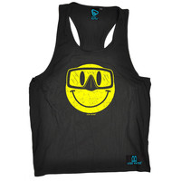 Open Water Smiley Goggles Design Scuba Diving Men's Tank Top