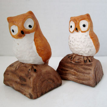 Vintage Owl Salt and Pepper Shakers Tan and White on Light Brown Logs