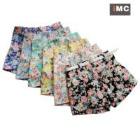 Ninimour- Women's Floral Elastic High Waist Pants Shorts Mini Trouser Short Pants (M, White)
