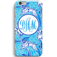 Blue Mermaid Nicetail Monogram Inspired Lilly Pulitzer  iPhone 6 Case, iPhone 5S Case