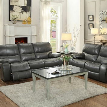 Home Elegance 8480GRY-PM-SL 2 pc pecos collection contemporary style grey leather gel match power motion sofa and love seat set