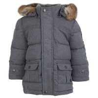 Grey Flannel Puffa Coat with Rabbit Fur Trim