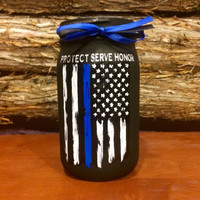 Police Officer Gift, Thin Blue Line Distressed Flag Jar, Custom Police Officer mason jar, Law Enforcement Gift, Protect Serve Honor