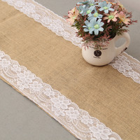 30x275cm Burlap Lace Hessian Table Runner Jute Country Outdoor Wedding Party Decoration 12x108inch Table Cloth Home Decor event