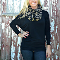 Black/Taupe Infinity Scarf