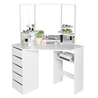 Blanco Vanity table with mirror + 5 Drawers