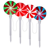 SheilaShrubs.com: Peppermint Lollipop Pathway Makers (Set of 4) G08 80287X by Gemmy Industries: Christmas Outdoor Decor