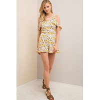Entro White and Yellow Floral Romper