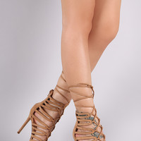 Strappy Cage Lace Up Open Toe Heel