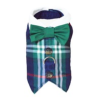 Navy and Green Plaid Dog Cat Harness Vest