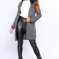 Laced Down Cardigan - Charcoal