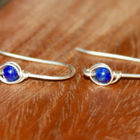 Blue Lapis Lazuli Earrings in Sterling Silver. Lapis Earrings. Natural Stone Jewelry, Short Drop Earrings