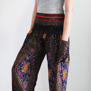 Harem Pants Peacock Design Bohemian From Enoughning On Etsy
