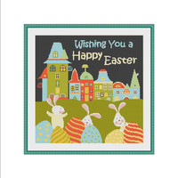 Easter cross stitch, Easter cross stitch pattern, Easter Bunny, Easter Rabbit, Easter Eggs, Easter pattern, Easter digital, Easter kids, PDF