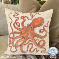Coastal Pillow Covers in Orange | Octopus Pillow Cover | Fall Coastal decor | Orange Pillow cover | Beach pillow cover | Kate McRostie