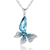 Butterfly Wing Drop Swarovski Elements Crystal Pendant Necklace - Blue and Green