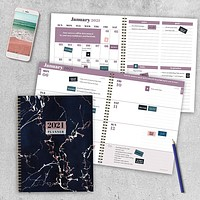 Marble Black Large Weekly/Monthly Planner + Stickers