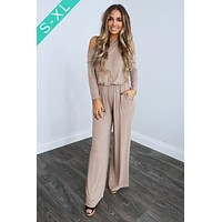Cold Shoulder Cutie Jumper: Taupe