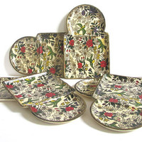 Vintage Set of 6 Japanese Serving Trays by ALFRED E KNOBLER & CO paper mache