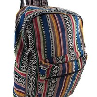 Striped Woven Cotton Tapestry Backpack, Green Size One Size