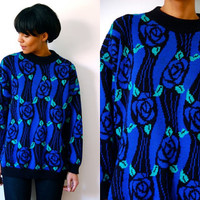 Vtg Blue Roses Print Green Leaves Black Retro Knitted Sweater