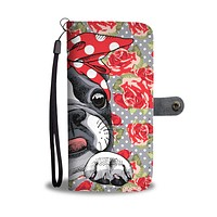 Floral Boston Terrier Red Wallet Phone Case