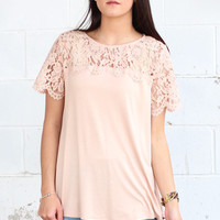 Breezy Lace Sleeve Top {Blush}