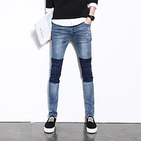 2017 New Arrival Jeans Men Slim Fit Casual Denim Pant Man Knee Patch Fashion Skinny Jeans Male Ripped Mens Jeans Pants Plus Size