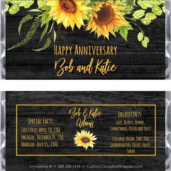 Sunflower Anniversary Candy Bar Wrappers