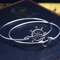 Anchor Bracelet ,Anchor & Helm Bangle ,Navy Jewelry, Sailor Wifts Gift