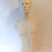 Vintage male mannequin half body, male torso, male window display, male shop display