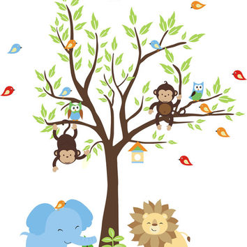 """Nursery Wall Decals, Safari Animal Wall Decals, Jungle Themed Wall Stickers, Baby Room Wall Decals, Removable and Reusable - 75 """" x 60"""""""
