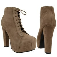 Womens Ankle Boots Chunky High Heel Suede Lace Up Shoes Taupe SZ