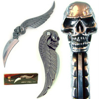 Whetstone 7 inch Skull Wing Design Folder Pocket Knife7 inc