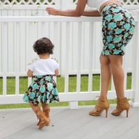 Mommy and Me Matching Skirts - Turquoise Flowers
