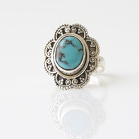 925 Sterling Silver Turquoise Ring US 6